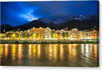 Innsbruck At Night Canvas Print by John B. Mueller Photography