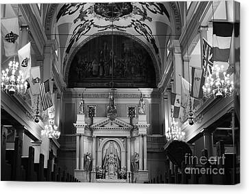 Inside St Louis Cathedral Jackson Square French Quarter New Orleans Black And White Canvas Print by Shawn O'Brien