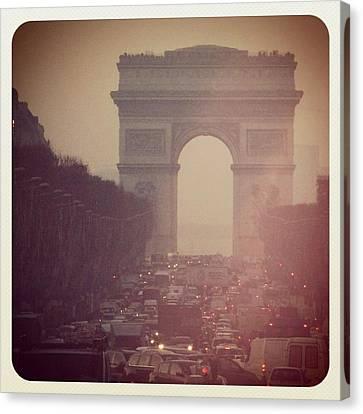 Instagram Photo - L'arc De Triomphe - Paris Canvas Print by Marianna Mills
