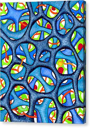Interconnection In Blue Canvas Print by Nancy Mueller