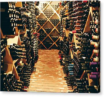 Interior Of A Wine Cellar Canvas Print by Joao Canziani