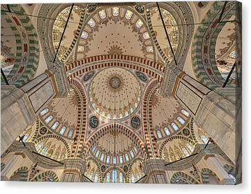 Interior Of Fatih Mosque Canvas Print by Salvator Barki