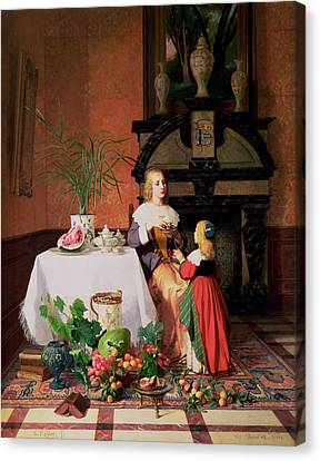 Interior With Figures And Fruit Canvas Print by David Emil Joseph de Noter