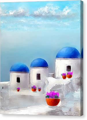 Into The Heavens Santorini Canvas Print by Larry Cirigliano