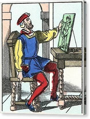 Invention Of Engraving, Medieval Europe Canvas Print by Cci Archives