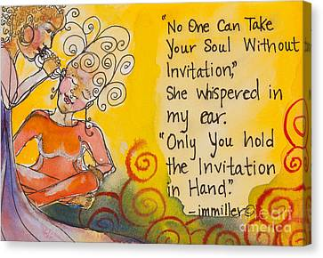 Invitation In Hand Canvas Print by Ilisa  Millermoon