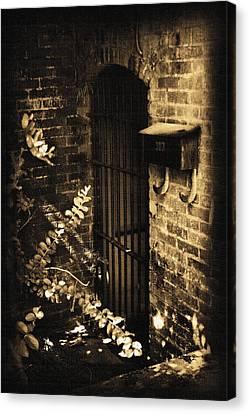 Iron Door Sepia Canvas Print by Kelly Hazel