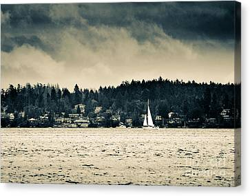 Island Sails Vancouver Island Sailing Under Stormy Skies Canvas Print by Andy Smy