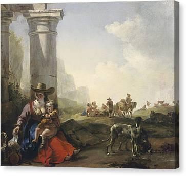 Italian Peasants Among Ruins Canvas Print by Jan Weenix