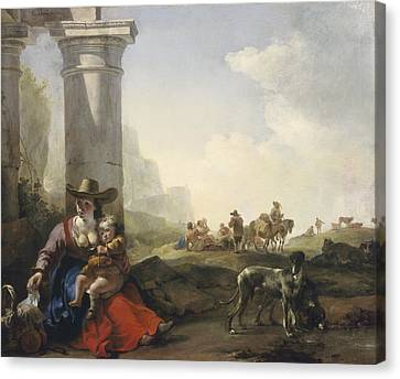 Italian Peasants Among Ruins Canvas Print by Jan Weenix
