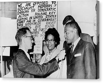 James Meredith And Wife In Front Canvas Print by Everett