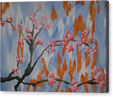 Japanese Cherry Blossoms Canvas Print by Joanna Leack