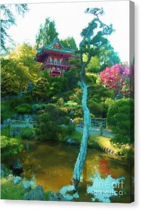 Japanese Tea Garden Temple Canvas Print by Jerry Grissom