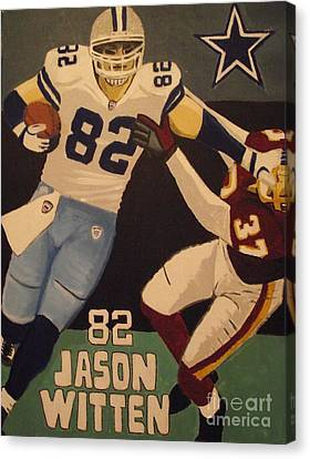 Jason Witten Stiffarm Canvas Print by Simon Hardesty