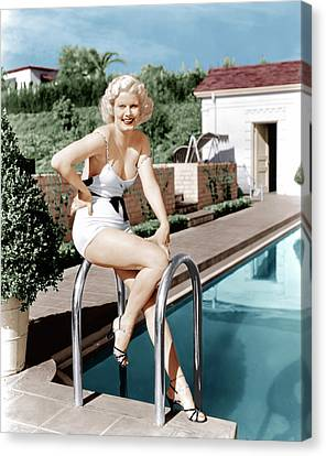 Jean Harlow Poses In Front Of Her Home Canvas Print by Everett
