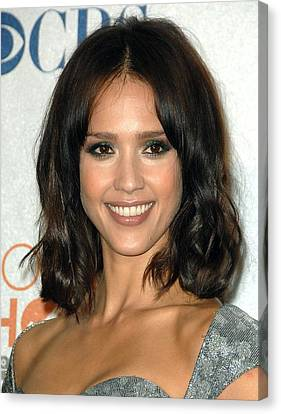 Jessica Alba In The Press Room Canvas Print by Everett