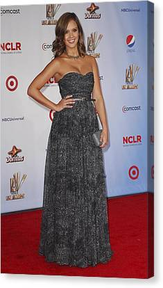 Jessica Alba Wearing A Dress By Michael Canvas Print by Everett