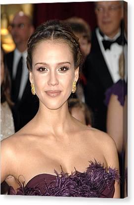 Jessica Alba Wearing Cartier Earrings Canvas Print by Everett