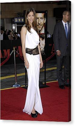 Jessica Biel Wearing An Emilio Pucci Canvas Print by Everett