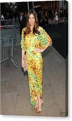 Jessica Biel Wearing Diane Von Canvas Print by Everett