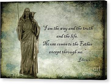 Jesus - Christian Art - Religious Statue Of Jesus - Bible Quote Canvas Print by Kathy Fornal