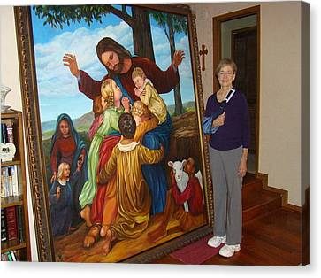 Jesus Loves The Children Canvas Print by Bobi Glenn