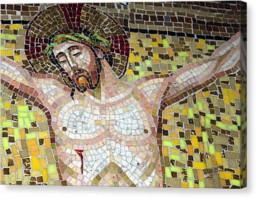 Jesus On The Cross Mosaic Canvas Print by Munir Alawi