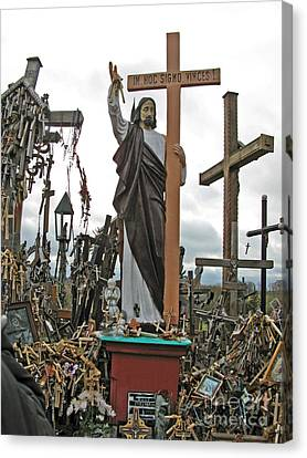 Jesus On The Hill Of Crosses. Lithuania Canvas Print by Ausra Huntington nee Paulauskaite