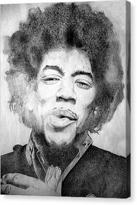 Jimi Hendrix - Medium Canvas Print by Robert Lance
