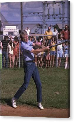 Jimmy Carter At Bat During A Softball Canvas Print by Everett