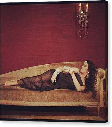 Sofa Canvas Print featuring the photograph #job #model #dress #girl #couch #sofa by Avatar Pics