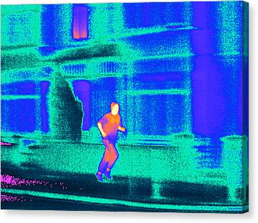 Jogging, Thermogram Canvas Print by Tony Mcconnell