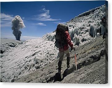 Johan Reinhard Nears The Summit Canvas Print by Stephen Alvarez