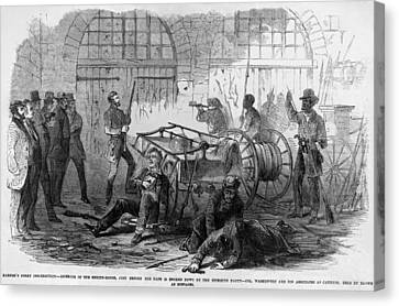 John Brown And Others Inside The Engine Canvas Print by Everett