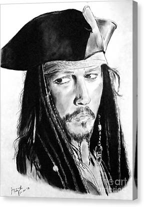 Johnny Depp As Captain Jack Sparrow In Pirates Of The Caribbean Canvas Print by Jim Fitzpatrick