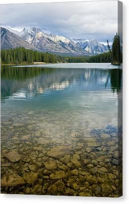 Johnson Lake Rocks Canvas Print by Adam Pender