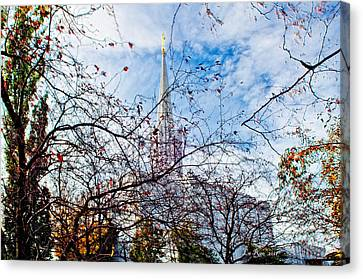 Jordan River Temple Branches Canvas Print by La Rae  Roberts