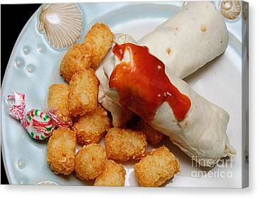 Jr Breakfast Burritos And Tots Canvas Print by Andee Design
