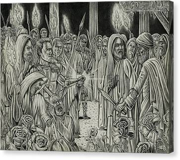 Judas In Garden Canvas Print by Vincnt Clark