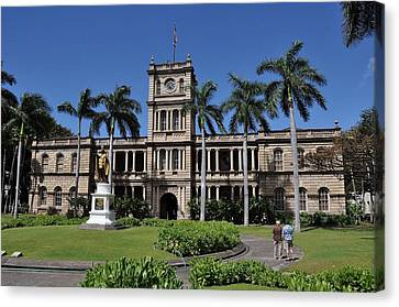 Kamehameha And  Aliiolani Hale 2 Canvas Print by Donald Sauret