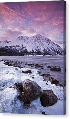 Kathleen Lake At Sunrise, Kluane Canvas Print by Robert Postma