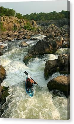 Kayaker Running Waterfalls At Great Canvas Print by Skip Brown