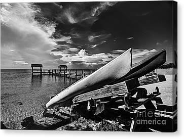 Kayaks Bw Canvas Print by Bruce Bain