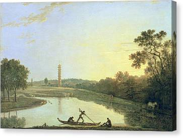 Kew Gardens - The Pagoda And Bridge Canvas Print by Richard Wilson