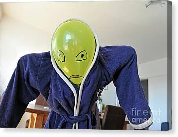 Kid In Dad Bathrobe Hiding Face With Balloon Canvas Print by Sami Sarkis