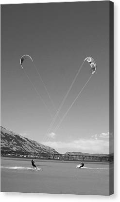 Kiteboarding Symmetry Canvas Print by Skip Brown