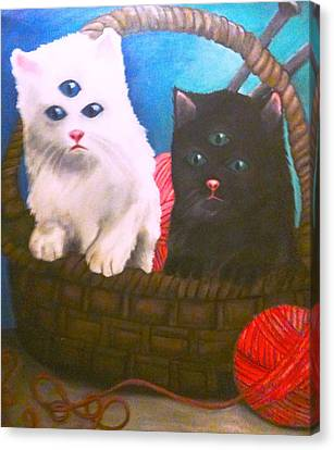 Kittens In A Basket Canvas Print by Katie Victoria Tolley