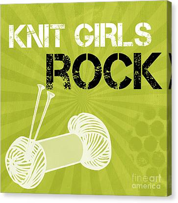 Knit Girls Rock Canvas Print by Linda Woods