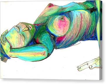 Koerperstudie3 Canvas Print by Roswitha Schmuecker