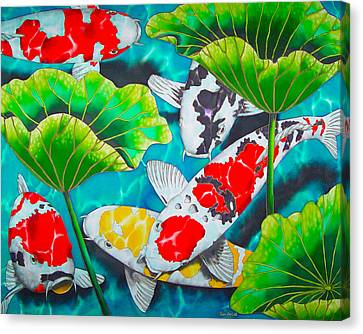 Koi And Lotus Canvas Print by Daniel Jean-Baptiste